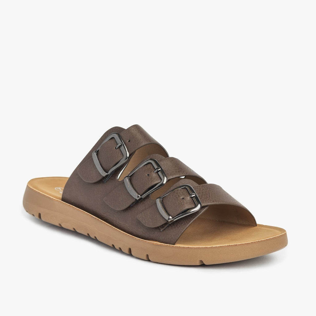 Womens Triple Strap Buckled Sandals - Forever - Brown / 5
