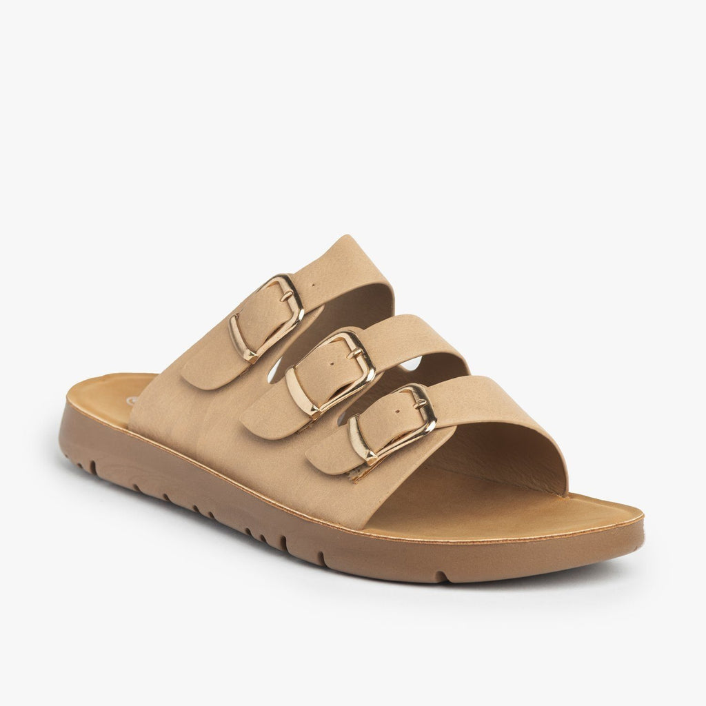 Womens Triple Strap Buckled Sandals - Forever - Taupe / 5