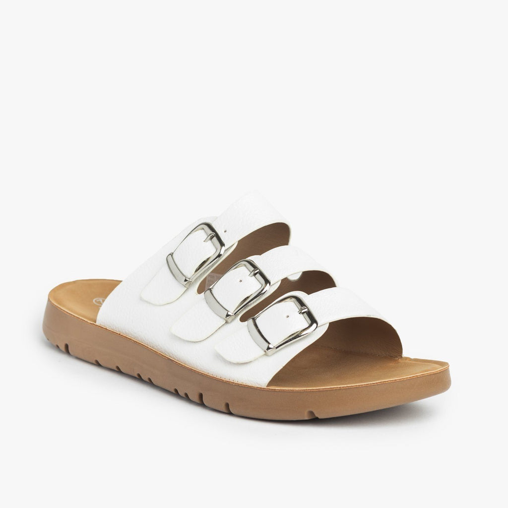 Womens Triple Strap Buckled Sandals - Forever - White / 5