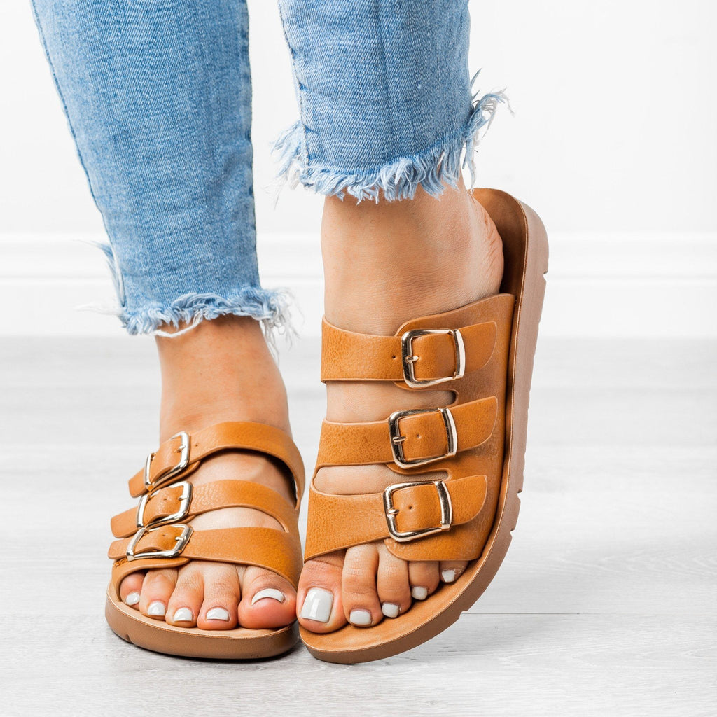 Womens Triple Strap Buckled Sandals - Forever - Tan / 5