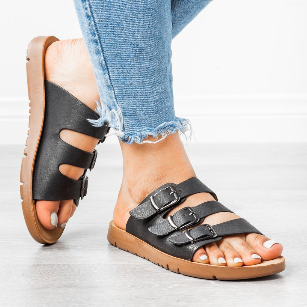 Womens Triple Strap Buckled Sandals - Forever - Black / 5