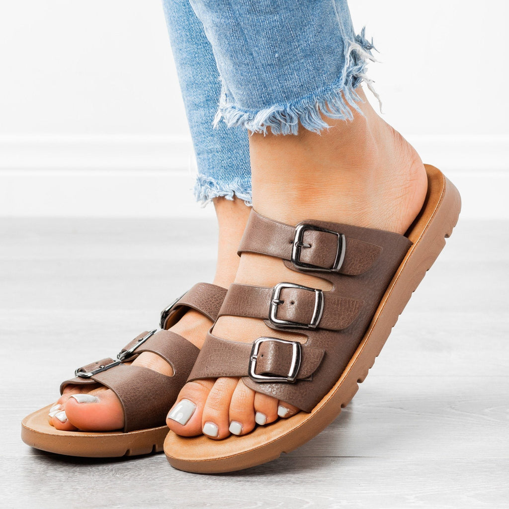 Womens Triple Strap Buckled Sandals - Forever