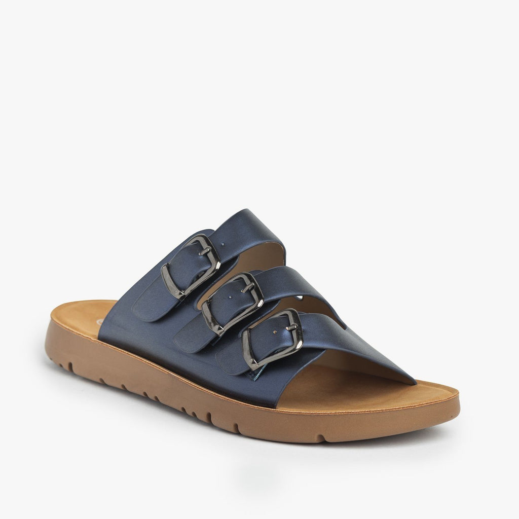 Womens Triple Strap Buckled Sandals - Forever - Navy / 5