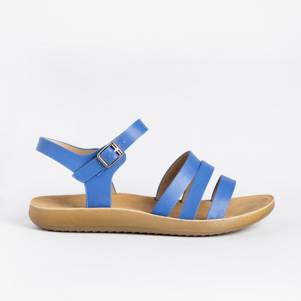 Womens Triple Strap Fashion Sandals - Forever - Blue / 5