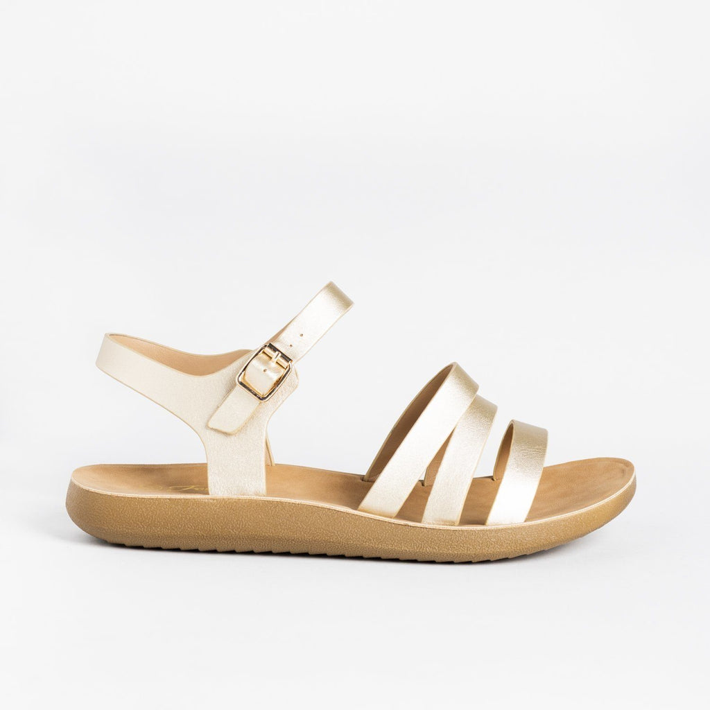 Womens Triple Strap Fashion Sandals - Forever - Gold / 5