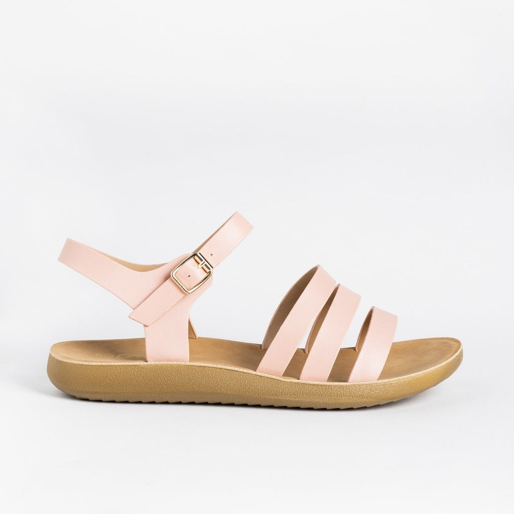 Womens Triple Strap Fashion Sandals - Forever - Pink / 5