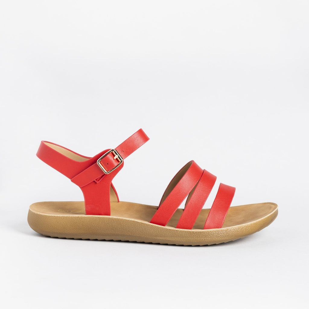 Womens Triple Strap Fashion Sandals - Forever - Red / 5