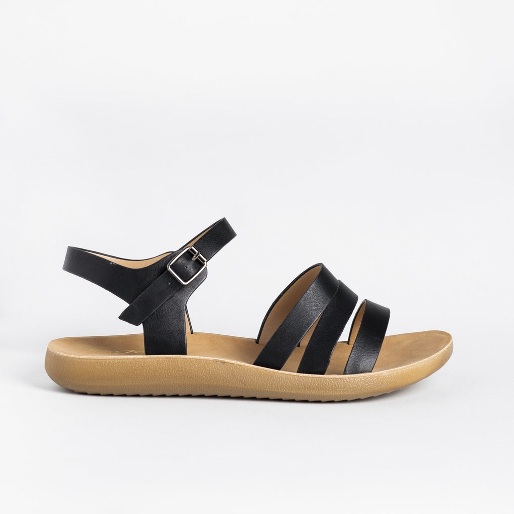 Womens Triple Strap Fashion Sandals - Forever - Black / 5