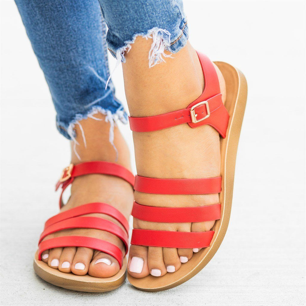 Womens Triple Strap Fashion Sandals - Forever