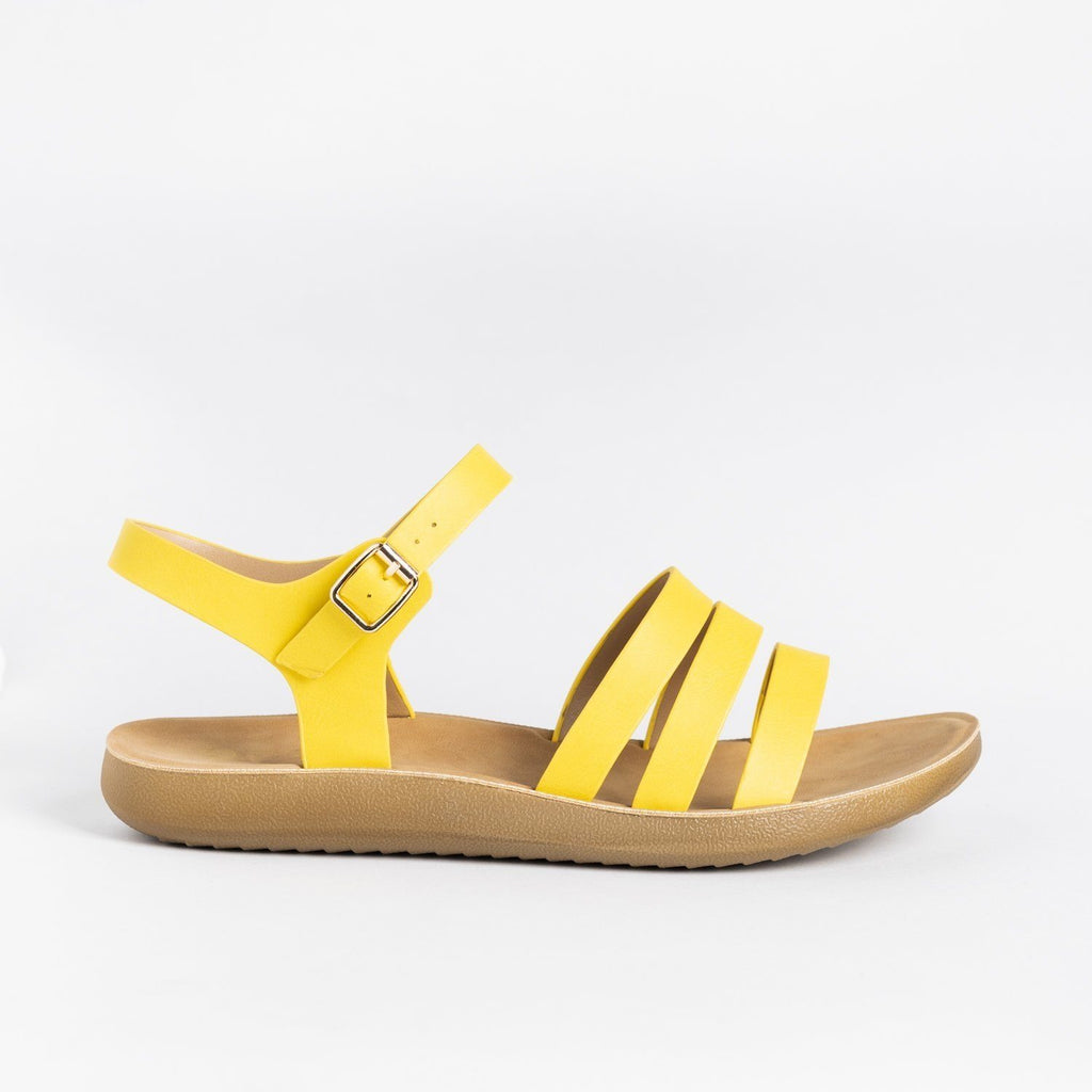 Womens Triple Strap Fashion Sandals - Forever - Yellow / 5