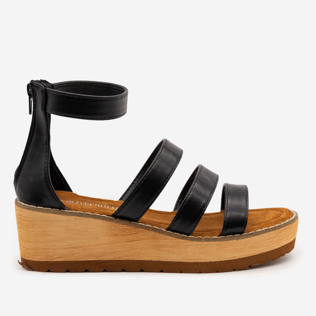 Women's Triple Strap Faux Wooden Wedges - Olivia Miller - Black / 5