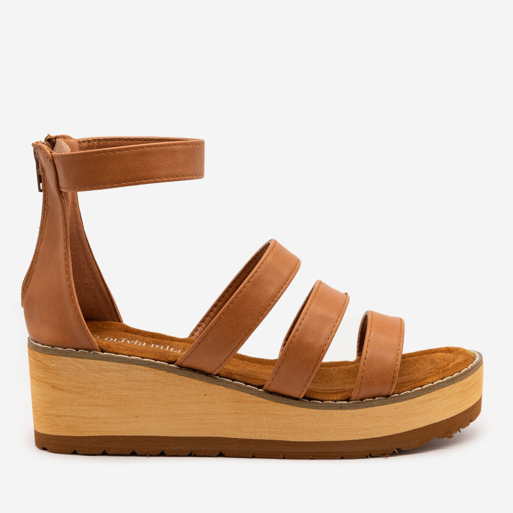 Women's Triple Strap Faux Wooden Wedges - Olivia Miller - Cognac / 5