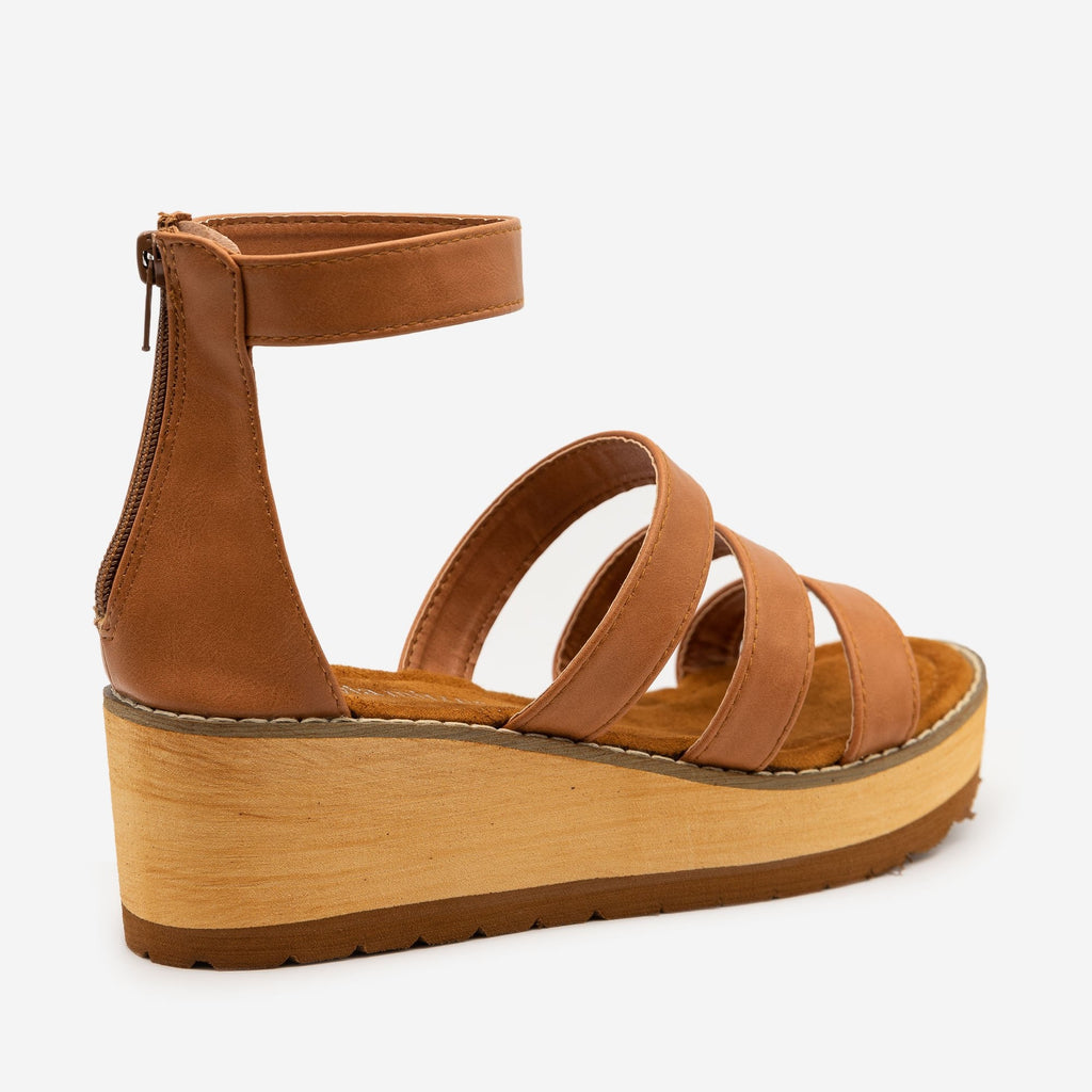 Women's Triple Strap Faux Wooden Wedges - Olivia Miller