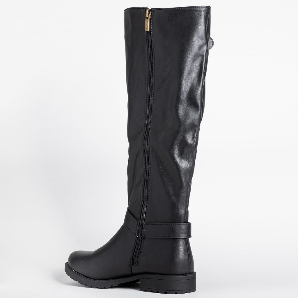 Womens Triple Strap Riding Boots - Bamboo Shoes