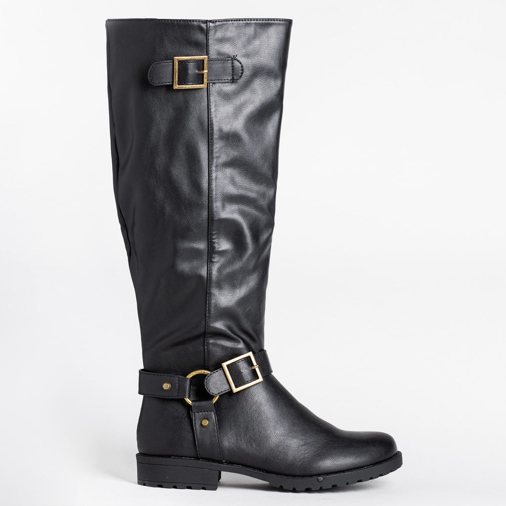 Womens Triple Strap Riding Boots - Bamboo Shoes - Black / 5