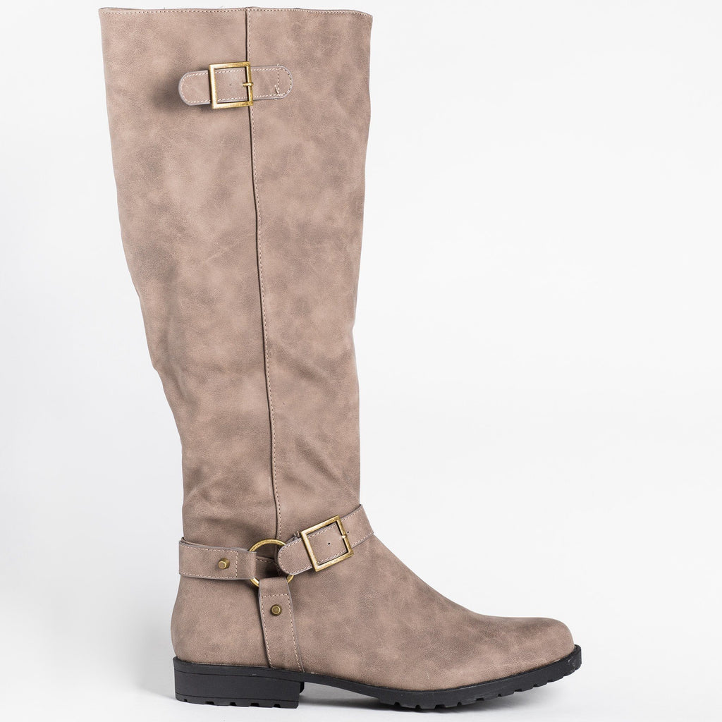 Womens Triple Strap Riding Boots - Bamboo Shoes - Taupe / 5