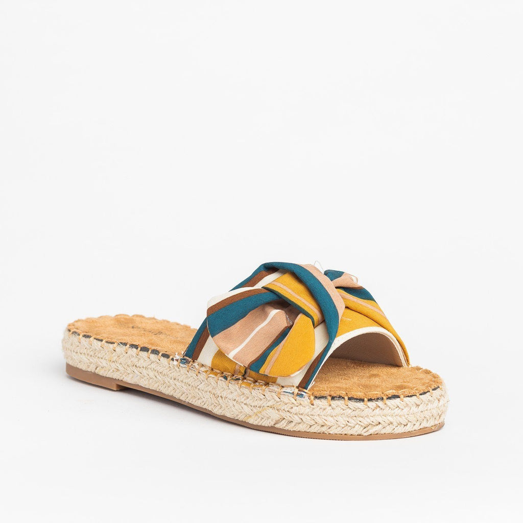 Womens Tropical Espadrille Slides - Nature Breeze - Yellow / 5