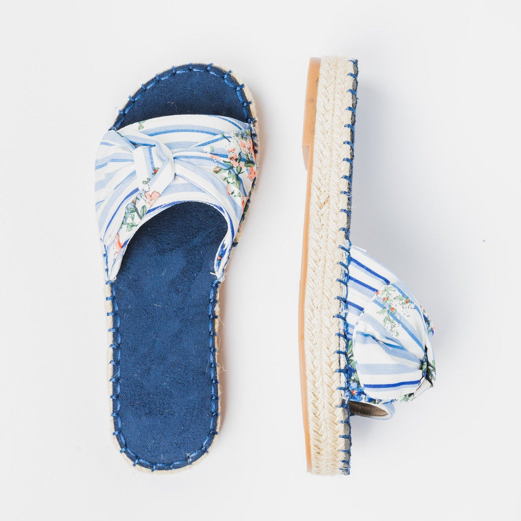 Womens Tropical Espadrille Slides - Nature Breeze - Blue / 5