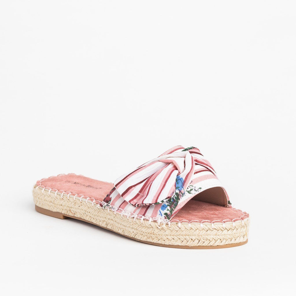 Womens Tropical Espadrille Slides - Nature Breeze - Pink / 5