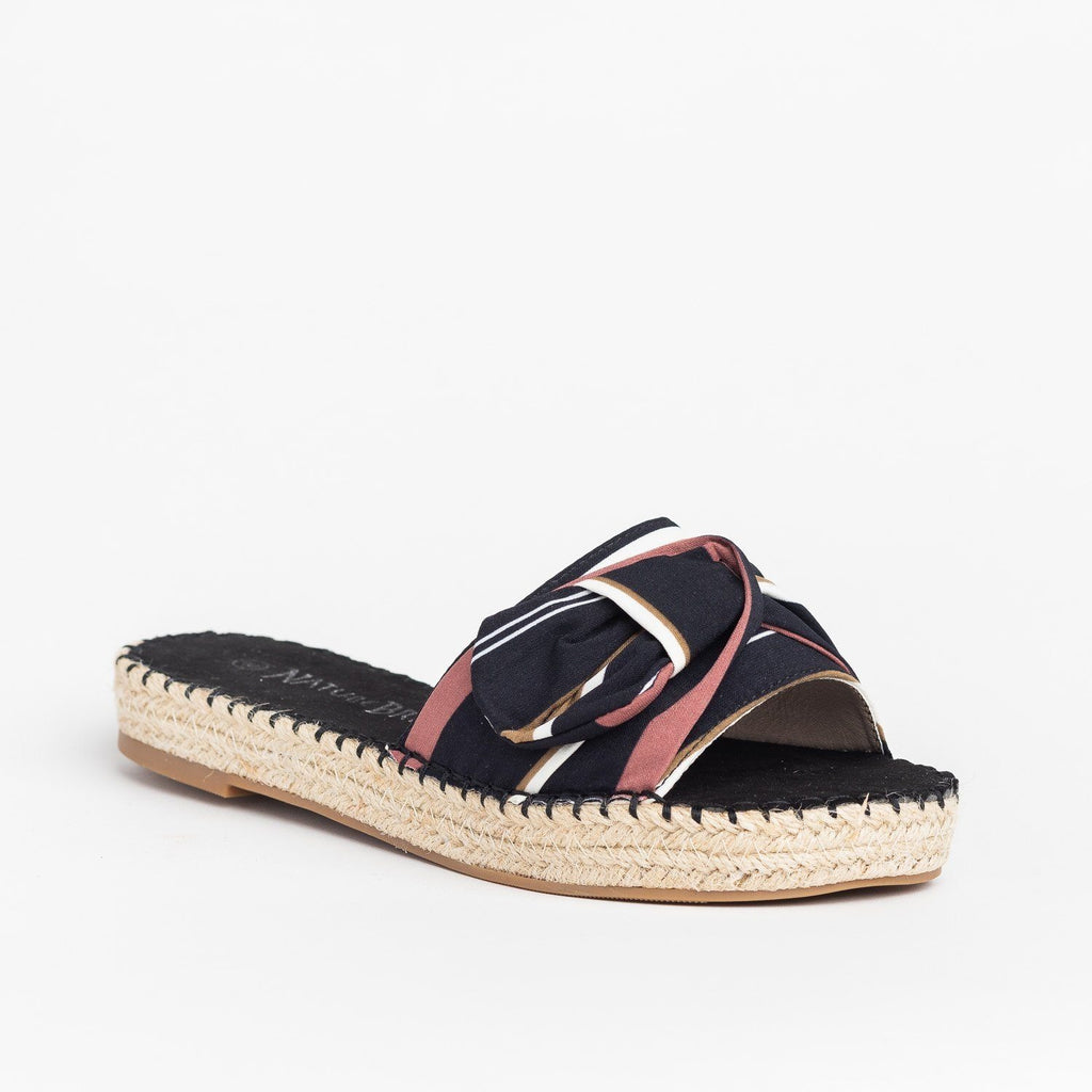 Womens Tropical Espadrille Slides - Nature Breeze - Black Pink / 5