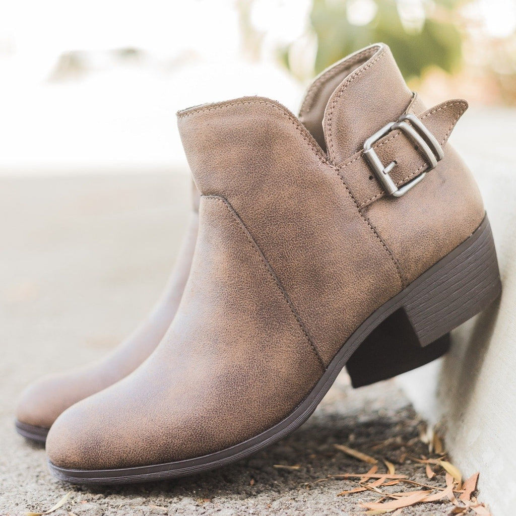 Womens Tulip-Shaped Buckle Booties - Shoelala - Taupe / 5