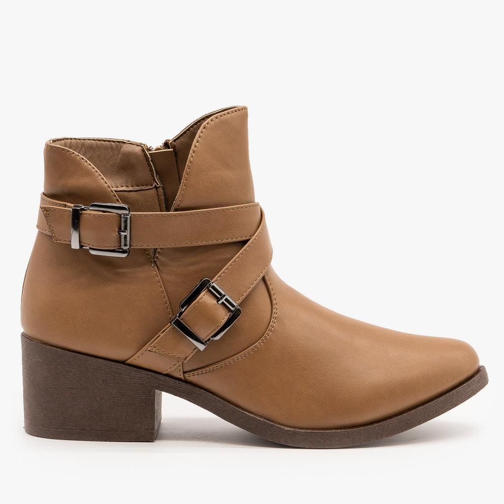 Womens Tulip Side Buckled Booties - Weeboo - Taupe / 5