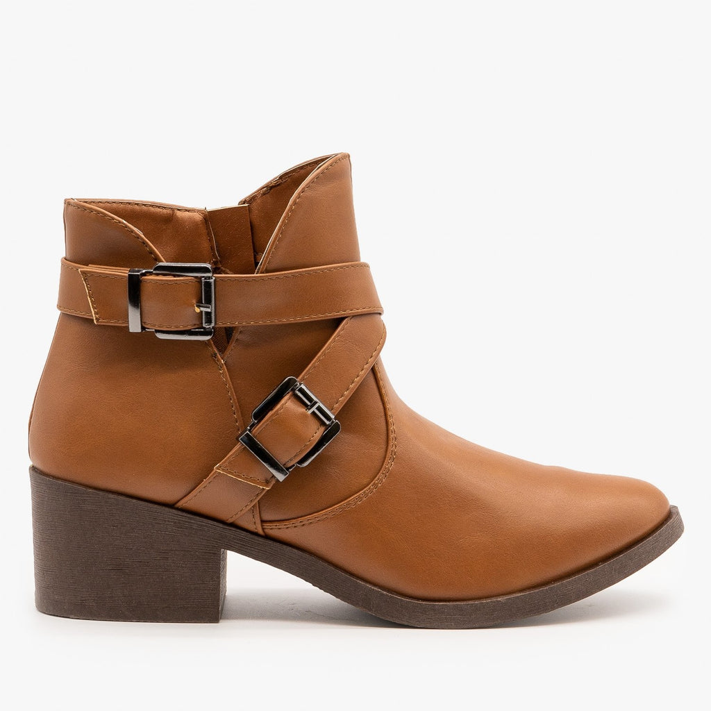 Womens Tulip Side Buckled Booties - Weeboo - Cognac / 5