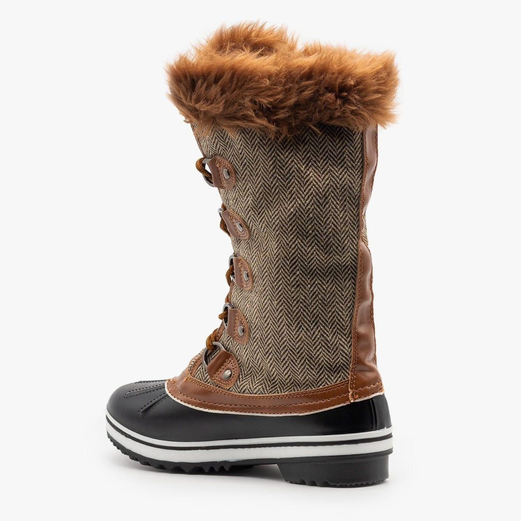 Womens Tweed Fur Cuffed Snow Boots - Forever