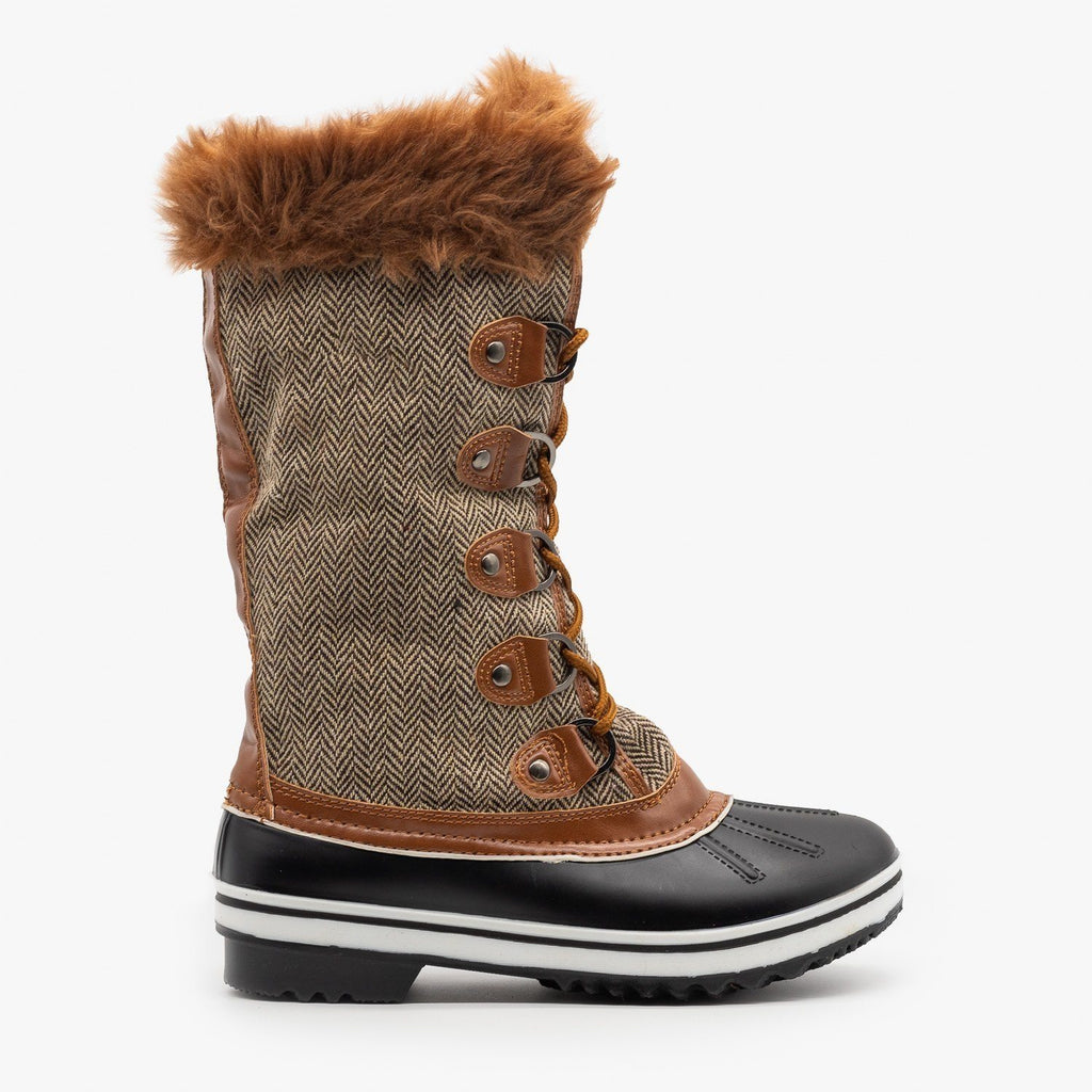 Womens Tweed Fur Cuffed Snow Boots - Forever - Tan / 5