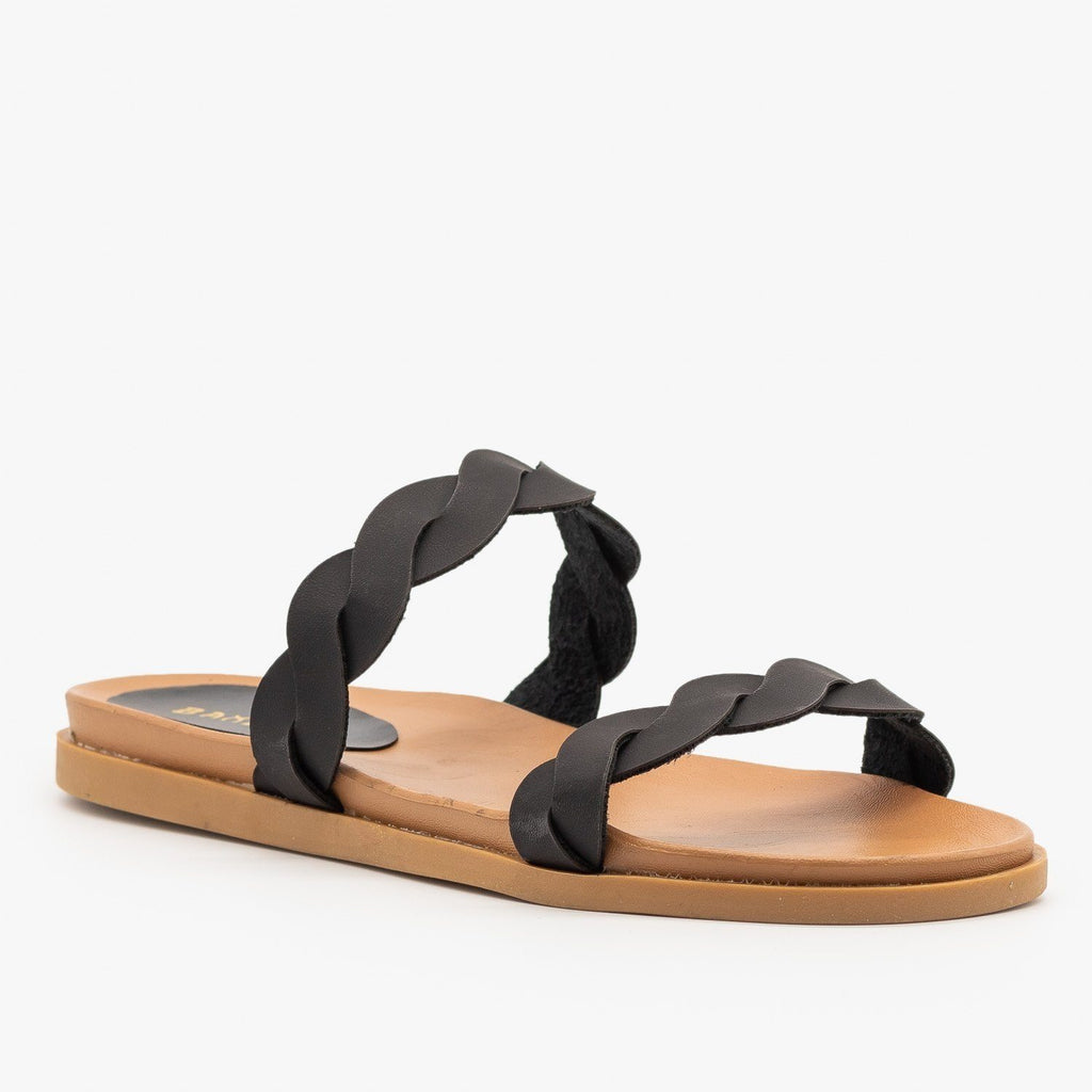 Womens Twisted Comfy Slides - Bamboo Shoes - Black / 5