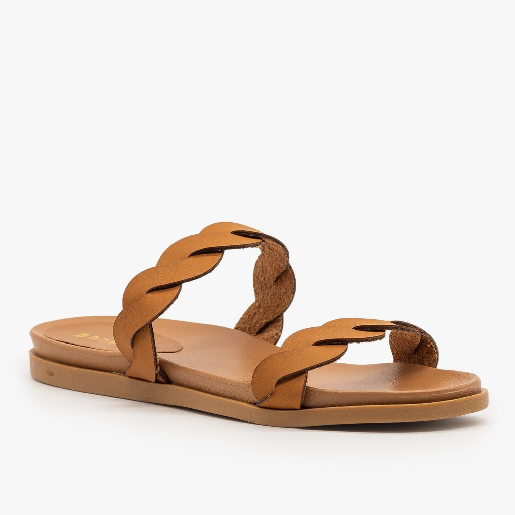 Womens Twisted Comfy Slides - Bamboo Shoes - Tan / 5