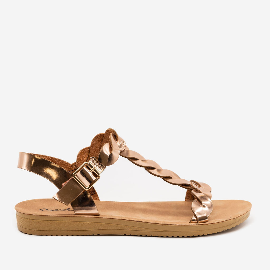 Women's Twisted Slingback Sandals - Qupid Shoes - Rose Gold / 5
