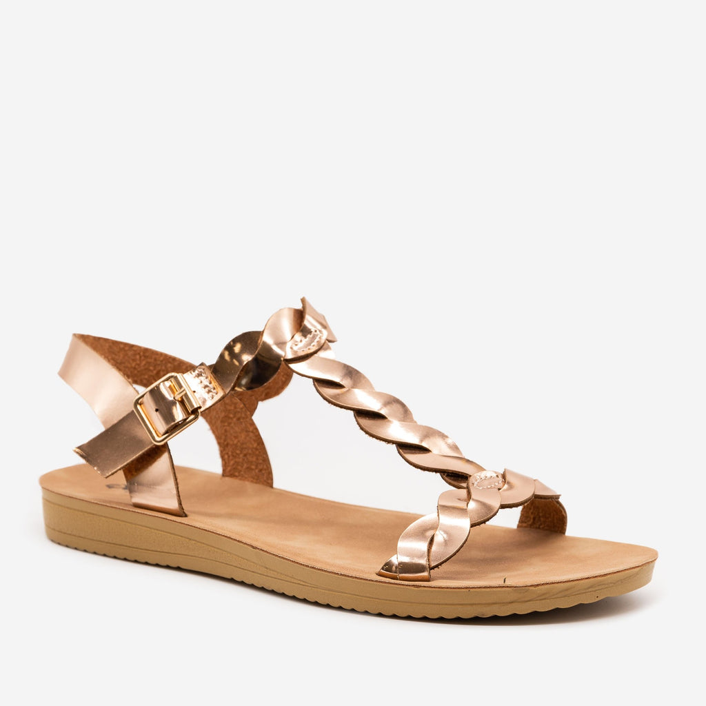 Women's Twisted Slingback Sandals - Qupid Shoes