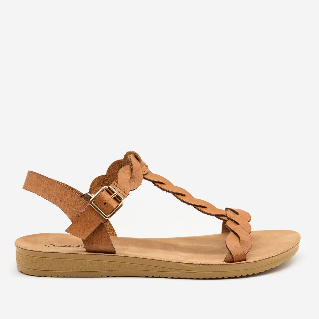 Women's Twisted Slingback Sandals - Qupid Shoes - Tan / 5