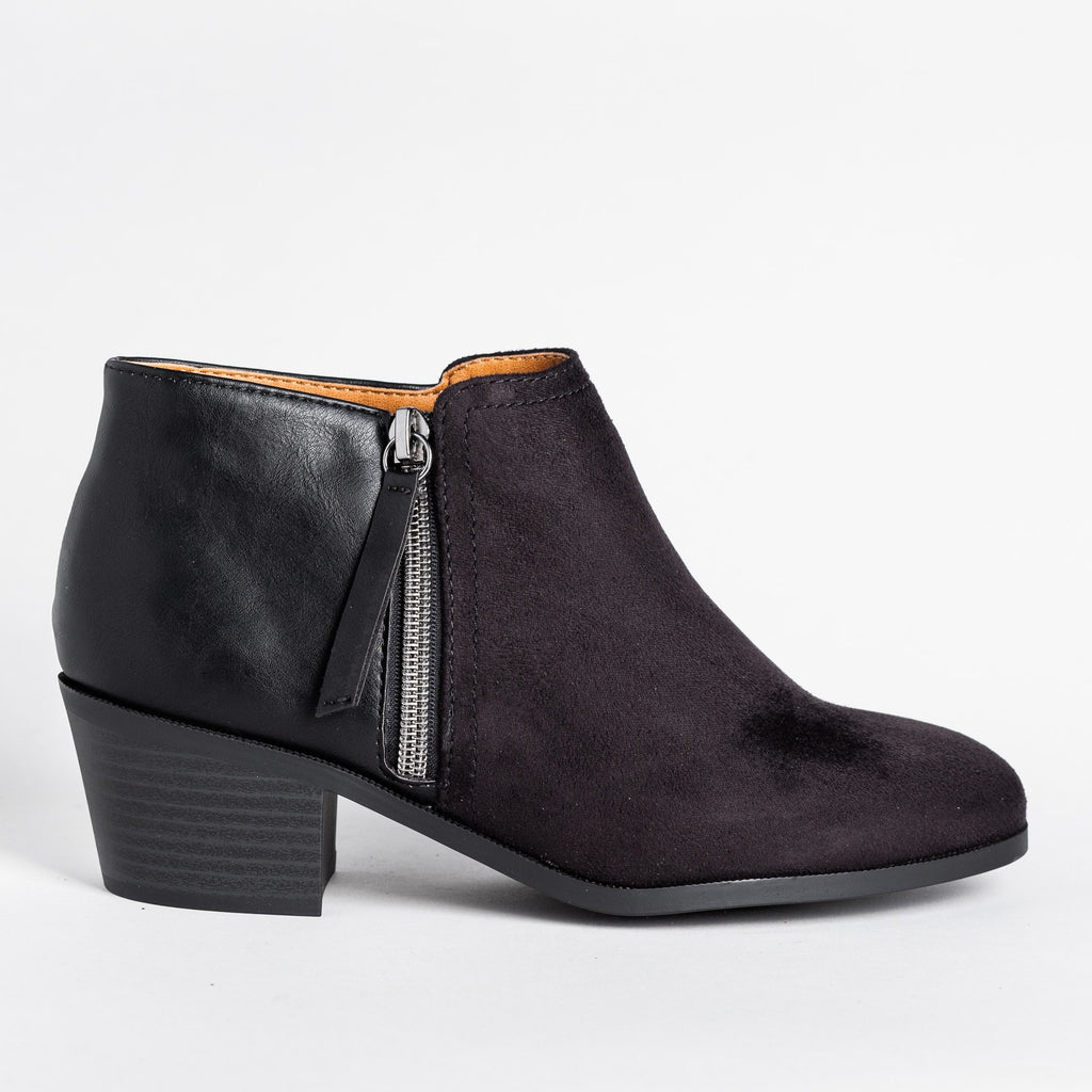 Womens Two-Tone Ankle Booties - Soda Shoes - Black / 5