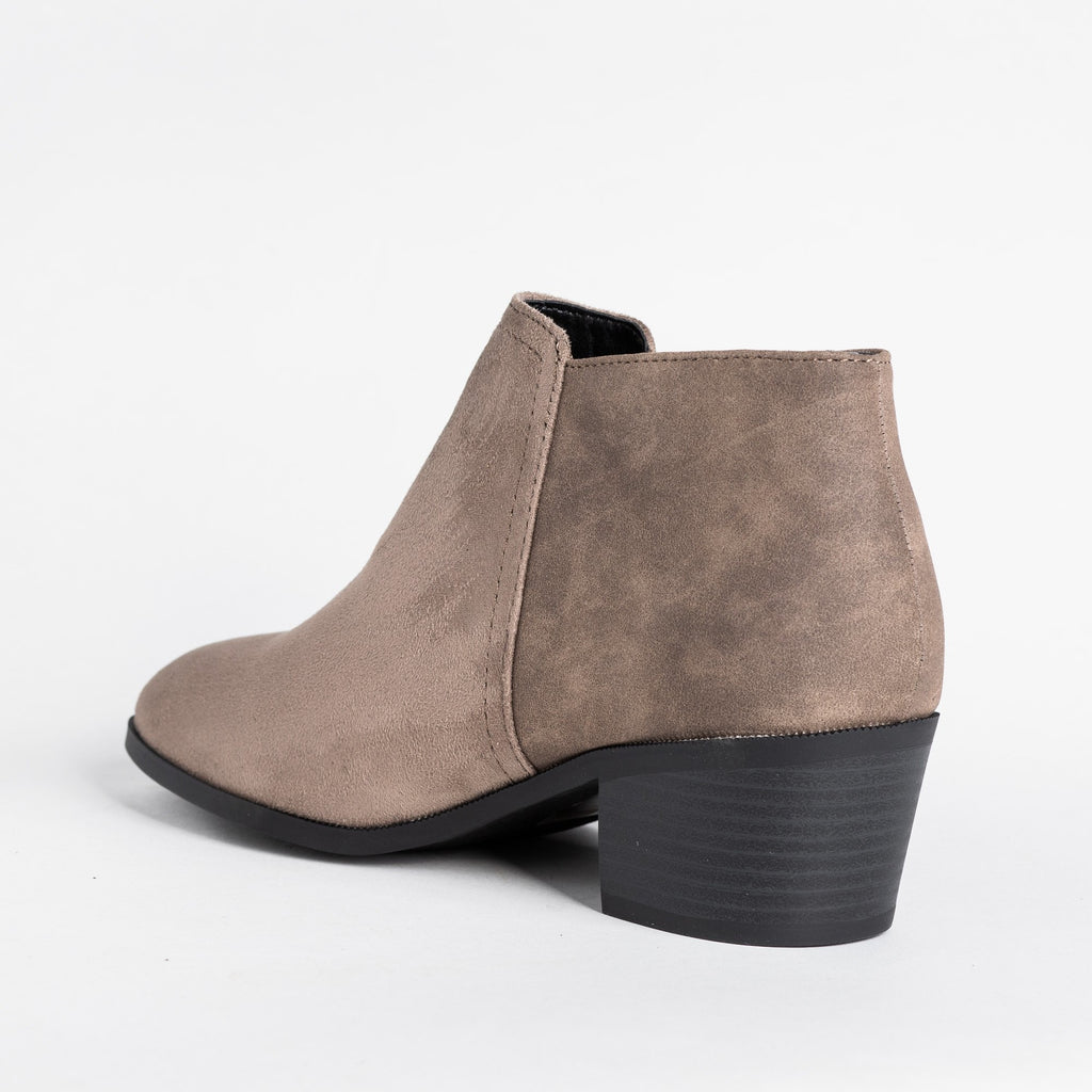 Womens Two-Tone Ankle Booties - Soda Shoes
