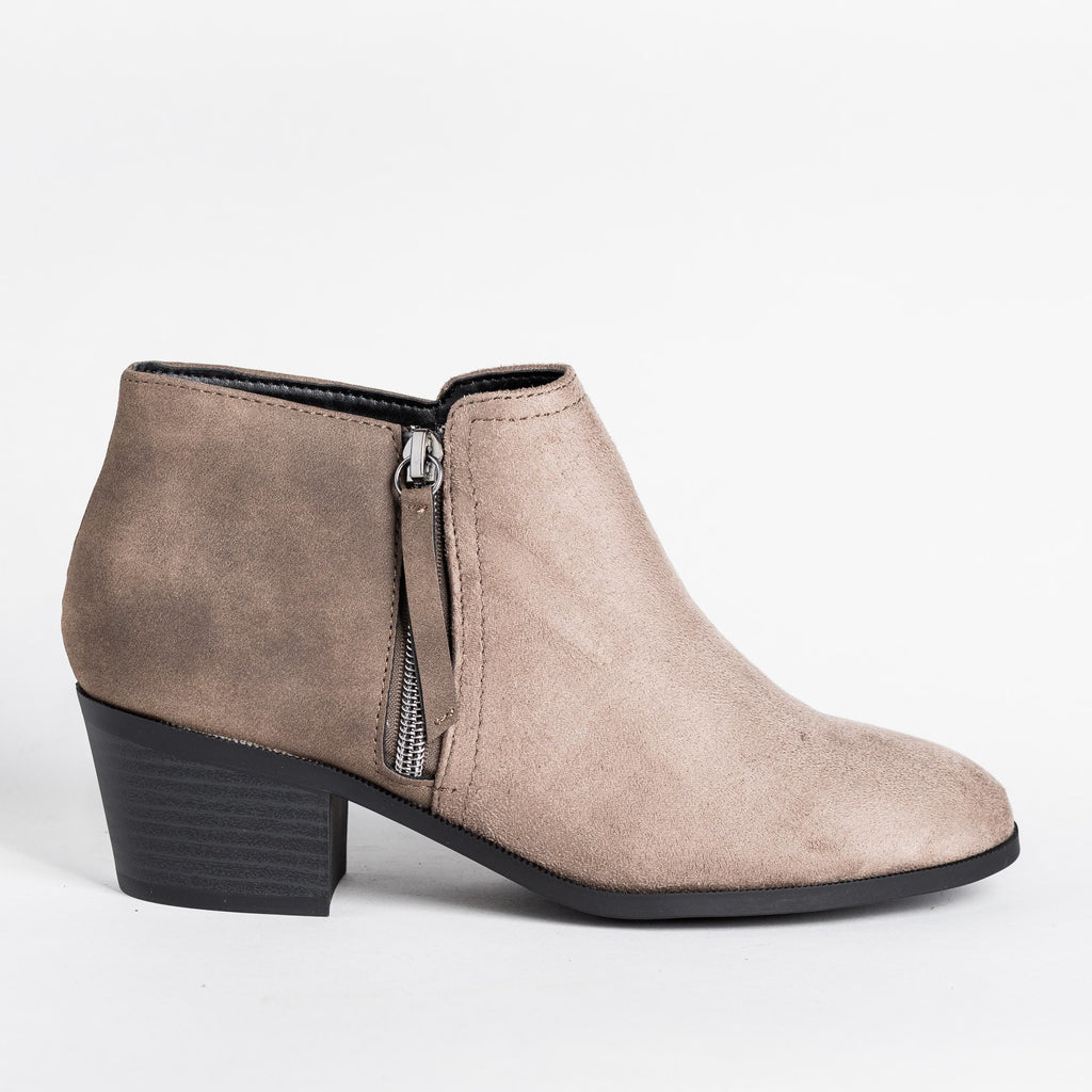 Womens Two-Tone Ankle Booties - Soda Shoes - Taupe / 5