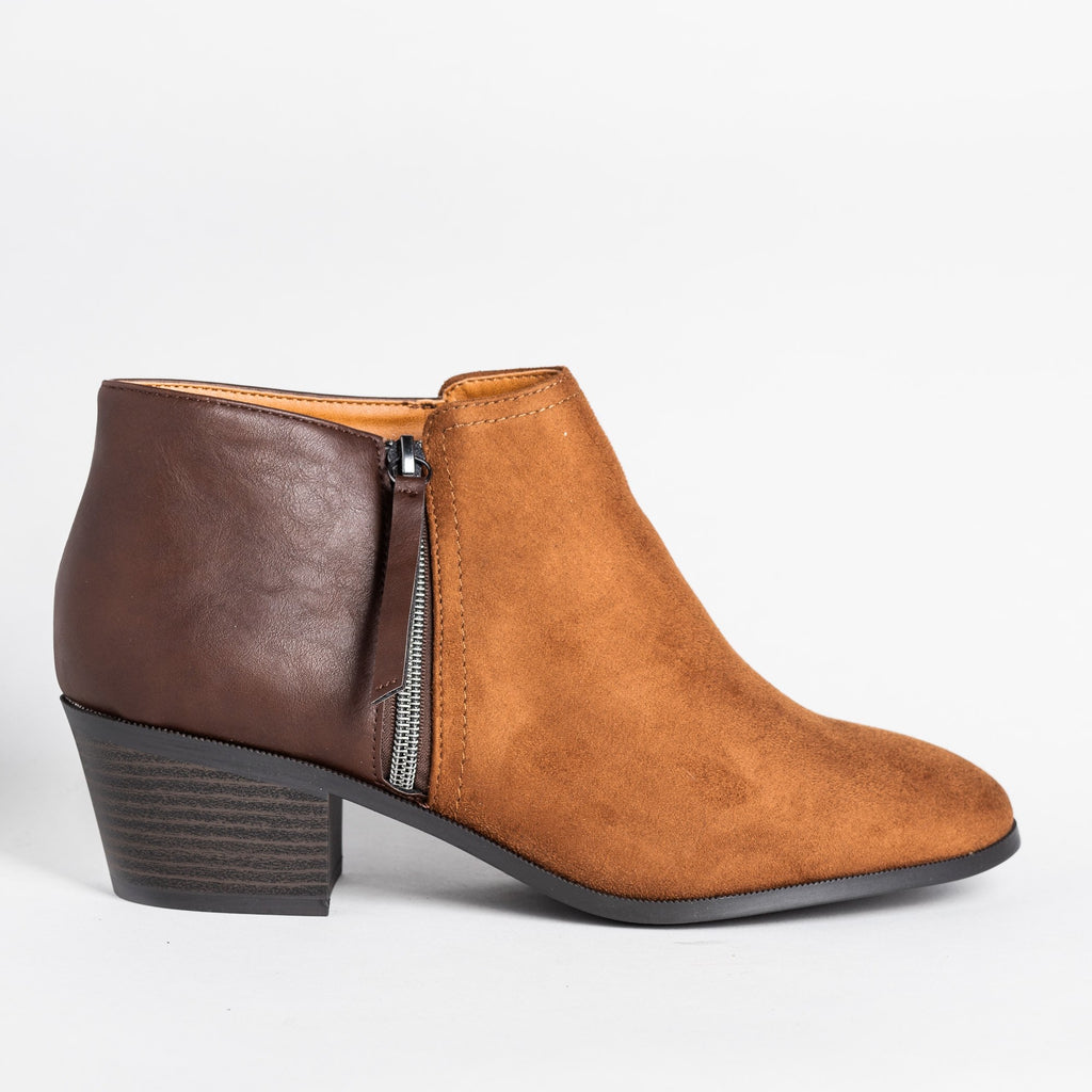 Womens Two-Tone Ankle Booties - Soda Shoes - Cognac / 5