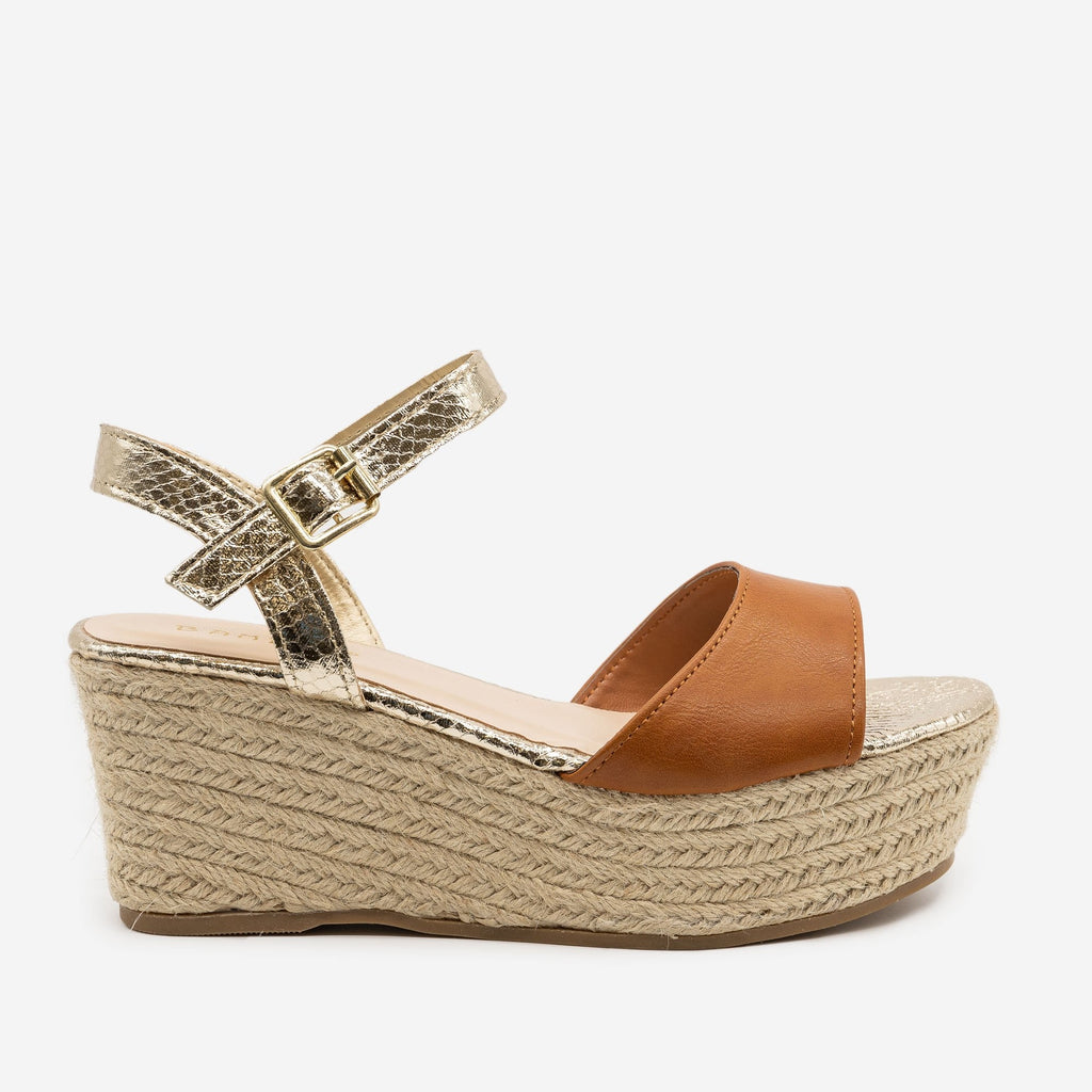 Women's Two-Tone Espadrille Platform Sandals - Bamboo Shoes - Tan / 5