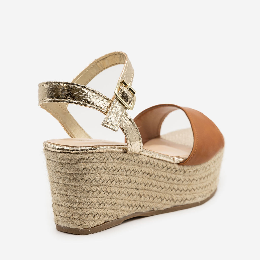 Women's Two-Tone Espadrille Platform Sandals - Bamboo Shoes