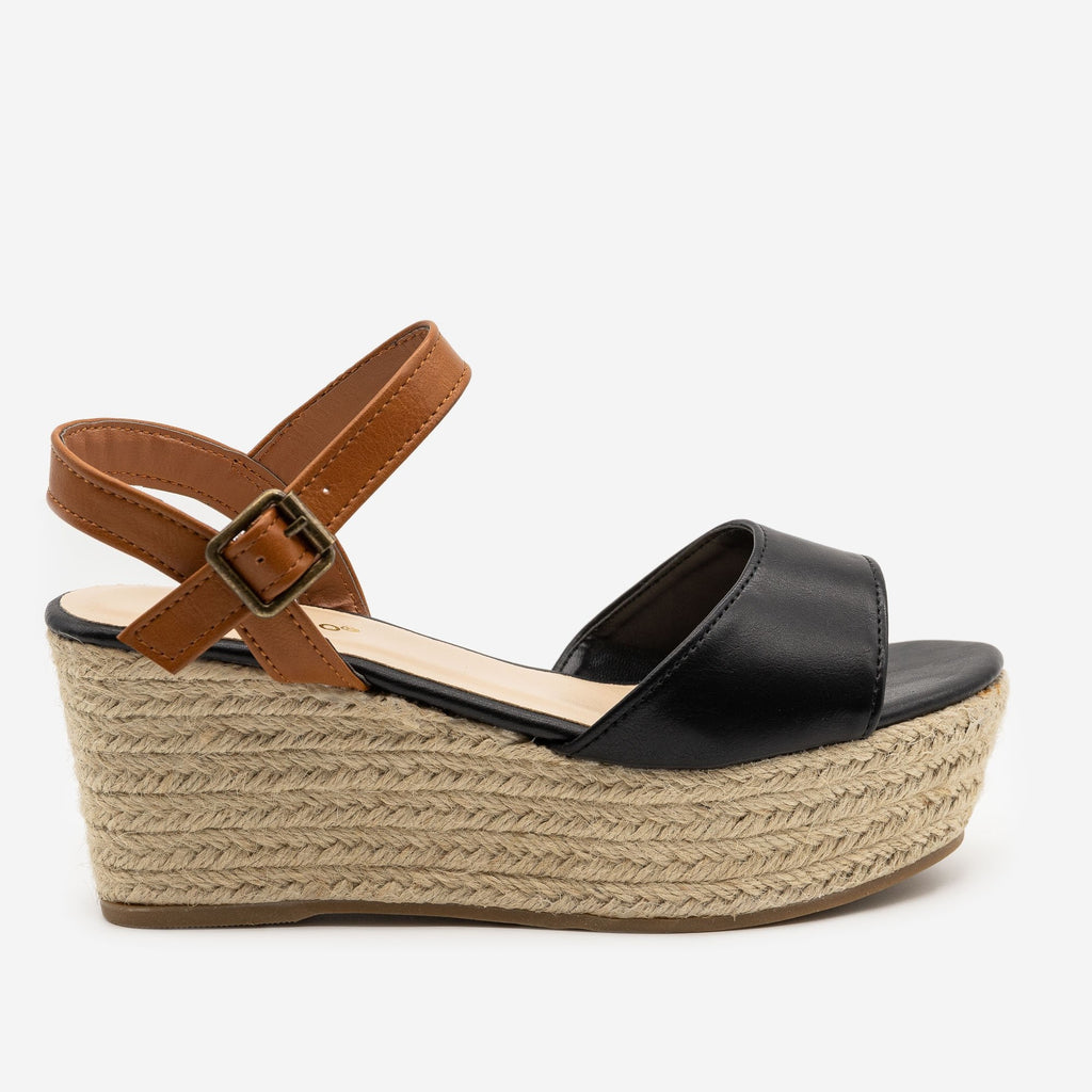 Women's Two-Tone Espadrille Platform Sandals - Bamboo Shoes - Black / 5