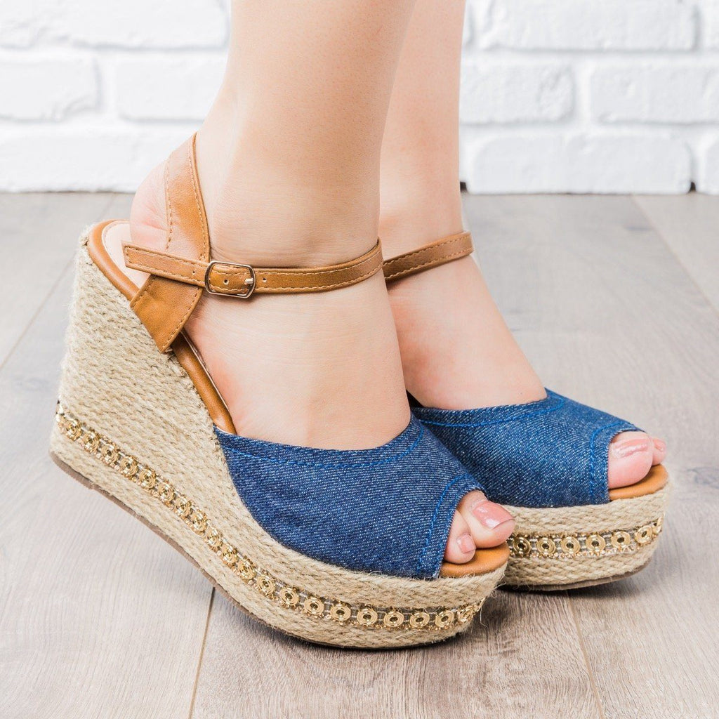 Womens Two-Tone Espadrille Wedges - Refresh - Denim / 5