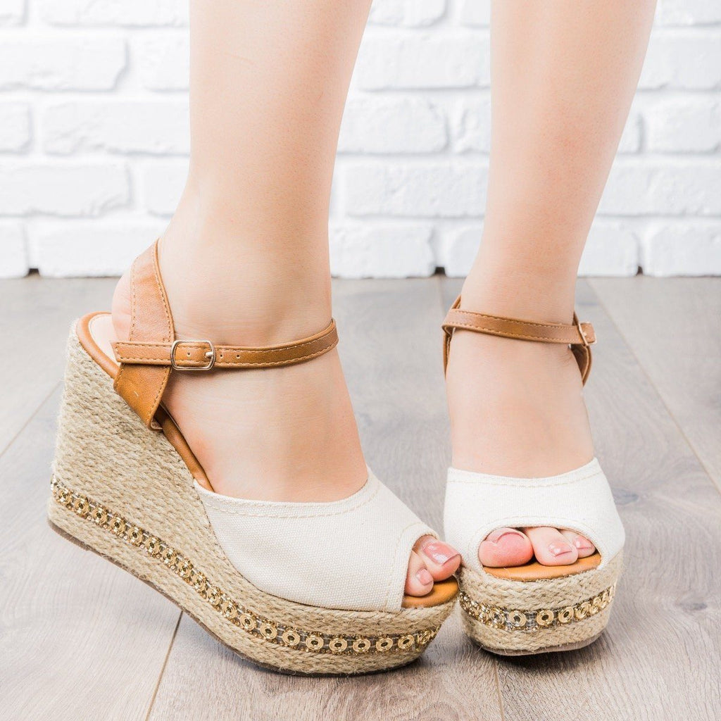 Womens Two-Tone Espadrille Wedges - Refresh - Beige / 5
