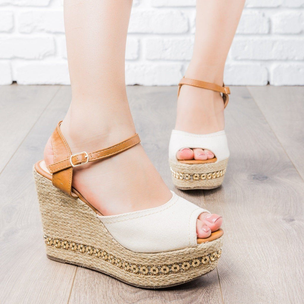 Womens Two-Tone Espadrille Wedges - Refresh