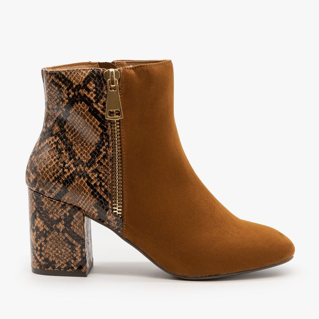 Womens Two-Tone Posh Zippered Booties - Bamboo Shoes - Tobacco / 5