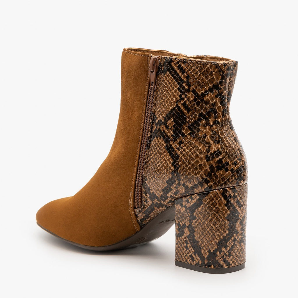 Womens Two-Tone Posh Zippered Booties - Bamboo Shoes
