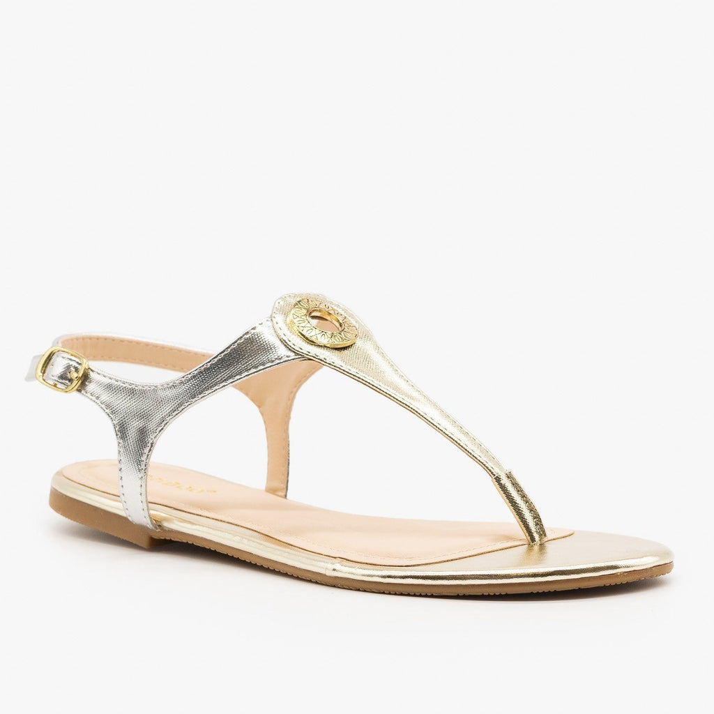 Womens Two-Tone Strappy Sandals - Bamboo Shoes - Gold / 5