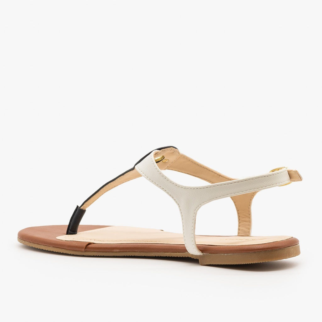 Womens Two-Tone Strappy Sandals - Bamboo Shoes