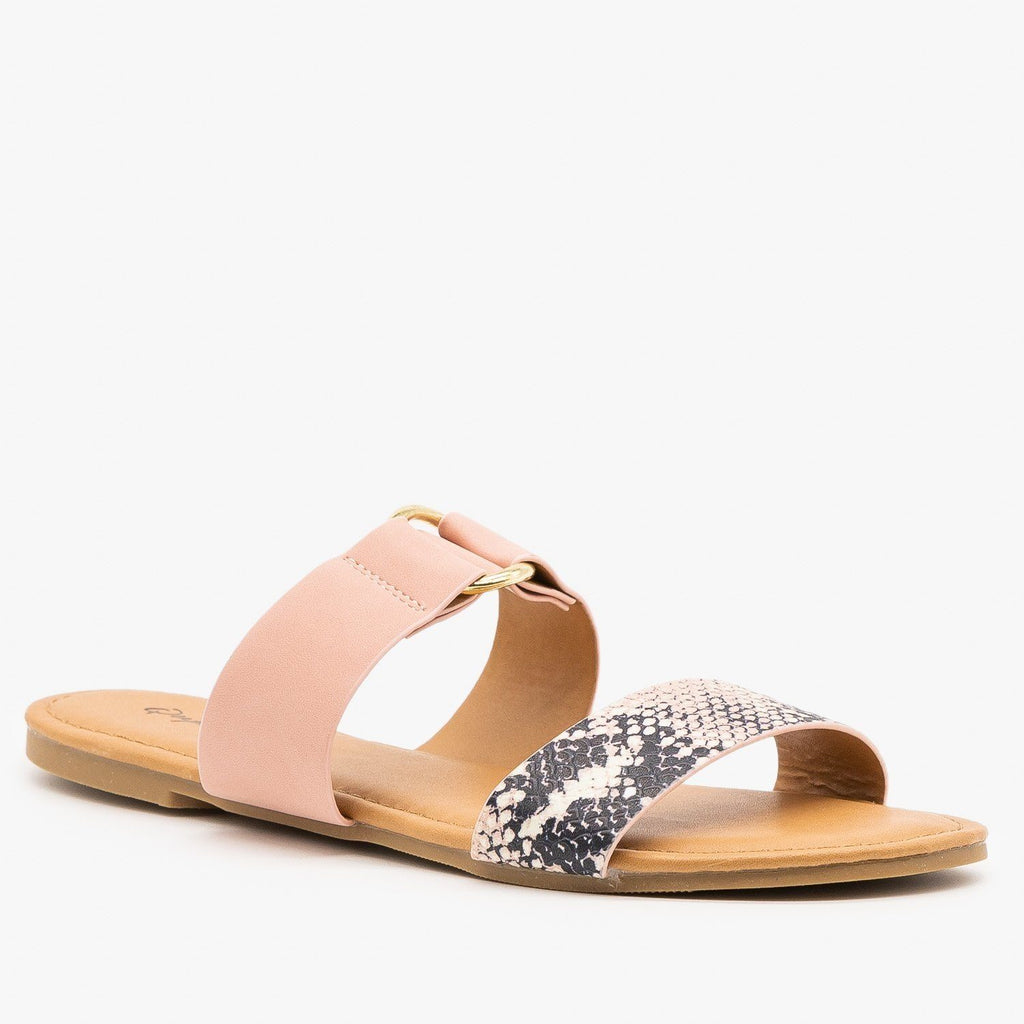 Womens Two-Toned Animal Print Slip-On Sandals - Qupid Shoes