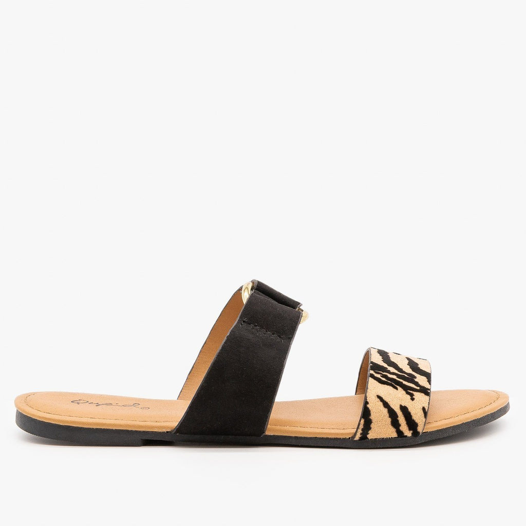 Womens Two-Toned Animal Print Slip-On Sandals - Qupid Shoes - Tan Black Tiger / 5